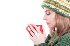 冬天流感或冷的概念在白色拷贝空间背景 库存图片