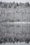 冬天海市蜃楼,在湖水的反射 库存照片