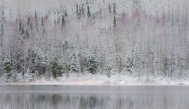 冬天海市蜃楼,在湖水的反射 免版税库存照片