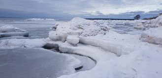 冬天海滨 库存照片
