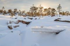 冻结冬天海运的岩石海岸。 库存照片