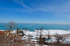 冬天海滩俯视 免版税库存图片