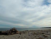 冬天海滩和天空风景 库存照片