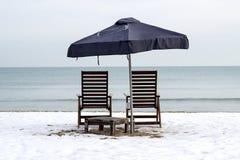 冬天海滩在保加利亚 免版税库存照片