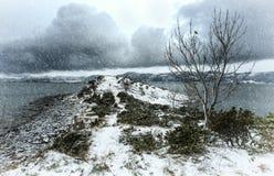 冬天海滨风景 免版税库存照片