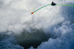冬天渔的钓鱼竿 图库摄影