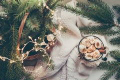 冬天温暖的杯子恶和巧克力用蛋白软糖与圣诞树装饰 图库摄影