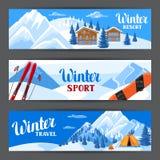 冬天滑雪胜地横幅 与高山瑞士山中的牧人小屋房子、雪板、多雪的山和冷杉森林的美好的风景 皇族释放例证