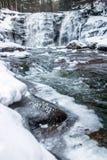冬天瀑布在多雪的森林里 免版税库存图片
