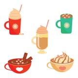 冬天热的饮料集合平的设计 免版税图库摄影