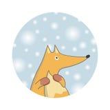 冬天狐狸 袋子看板卡圣诞节霜klaus ・圣诞老人天空 库存图片