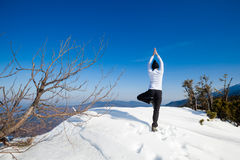 冬天瑜伽会议在美好的山地方 免版税库存照片