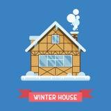 冬天瑞士山中的牧人小屋议院 免版税库存照片
