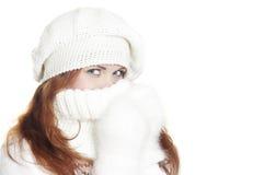 冬天的美丽的接近的女孩纵向 免版税库存照片