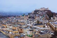 冬天的萨尔茨堡奥地利 库存照片