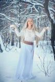 冬天秀丽妇女 有雪发型和构成的美丽的时装模特儿女孩在冬天森林欢乐构成和修指甲 免版税库存图片