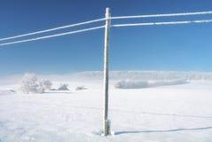 冬天空的横向蓝天,多雪的telefony线路 库存图片