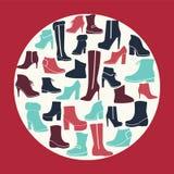 冬天穿上鞋子汇集 免版税库存照片