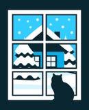 冬天窗口 库存图片