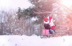 冬天童话、一个年轻母亲和她的女儿乘坐雪撬 免版税图库摄影