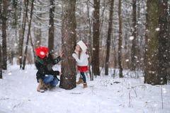 冬天童话、一个年轻母亲和她的女儿乘坐雪撬 库存照片