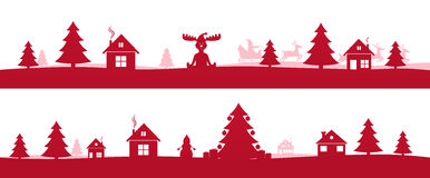 冬天红色假日环境美化与Ñ  hristmas树 向量例证