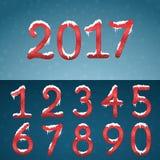 冬天红色数字设置与雪盖帽 与snowfl的冻结的数字 向量例证