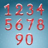 冬天红色数字设置与雪盖帽 冻新年数字wi 向量例证