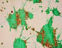 冬天红色绿色刷子冲程,蜡状的背景,创造性的设计 库存照片