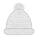 冬天编织了在zentangle,部族单色样式的盖帽手套 免版税库存图片