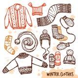 冬天编织了被设置的衣裳 库存图片