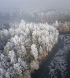 冬天背景的鸟瞰图与一个积雪的森林的 免版税库存图片