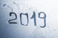 冬天背景,从强的霜,冰纹理o的冻玻璃 免版税图库摄影