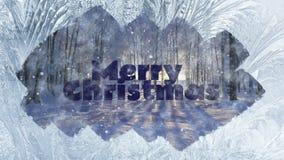 冬天背景结冰的窗口和文本圣诞快乐 库存例证