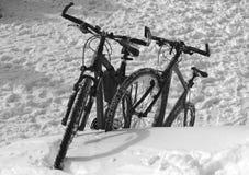 冬天自行车二重奏 免版税库存照片