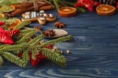 冬天舒适晚上 热化茶杯用肉桂条 库存图片