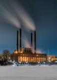 冬天蒸汽厂 库存图片