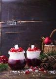 冬天蔓越桔果酱和酸奶圣诞节点心在被分配的玻璃瓶子有新鲜的成熟石榴五谷的 免版税库存图片