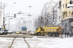 冬天街道在索非亚,保加利亚 库存图片