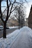 冬天街道场面在里加 图库摄影