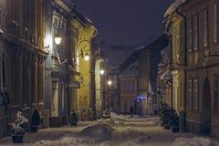 冬天街道视图 免版税库存照片