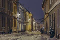 冬天街道视图 库存照片