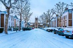 冬天街道,伦敦-英国 免版税图库摄影