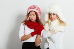 冬天衣物的两个女孩温暖盖帽 免版税库存图片