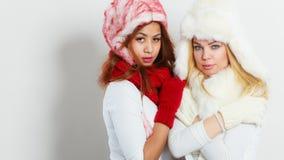 冬天衣物的两个女孩温暖盖帽 免版税库存照片