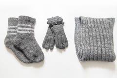 冬天衣裳和辅助部件 免版税库存照片