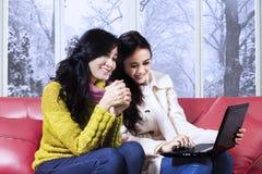 冬天衣裳的女孩使用膝上型计算机 库存图片