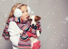 冬天衣裳的女孩 库存照片