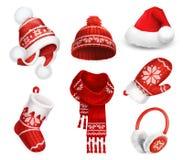 冬天衣裳 圣诞老人绒线帽 被编织的帽子 圣诞节礼品例证红色袜子向量白色 围巾 手套 御寒耳罩 适应图标 库存图片