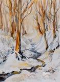 冬天被绘的森林水彩 图库摄影